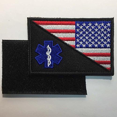 "SpaceCar 2 USA Flag of Caduceus Paramedic Tactical EMT EMS Badge Emblem Decorative Patch 2"" Sized"