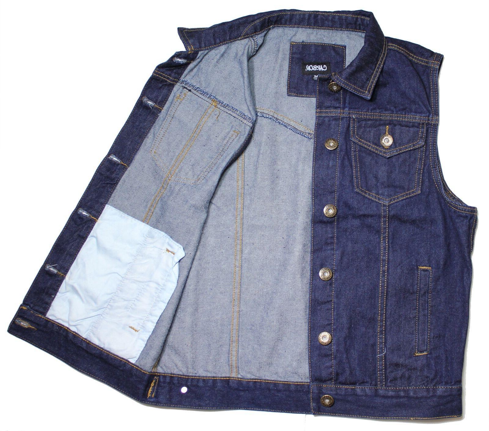 Vest dk.Blue Denim jean biker motorcycle jacket Sleeveless m