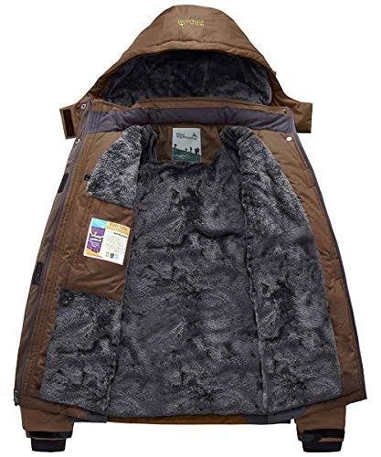 JINSHI Insulated Fleece Jacket Windproof Hooded Rain Jacket