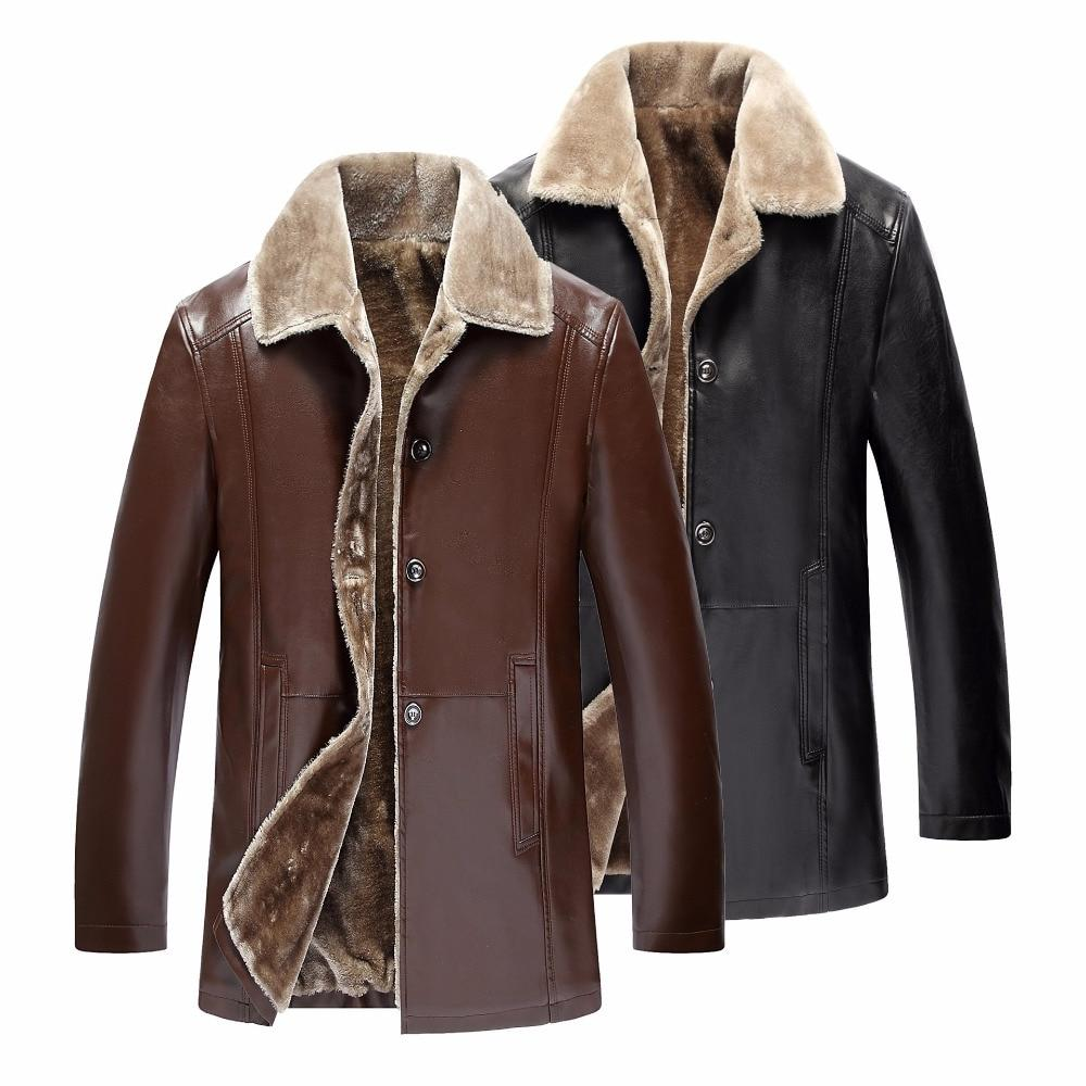 Winter Leather <font><b>Jacket</b></font> <font><b>Mens</b></font> Suede Leather <font><b>Jackets</b></font> Faux Thick Long Suede