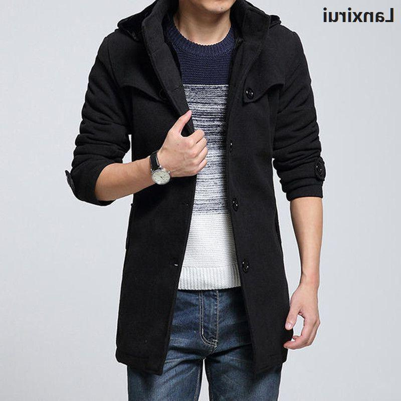 Winter <font><b>Hooded</b></font> Wool Thicken Velvet Overcoat Woolen trench <font><b>Jacket</b></font> 4xl plus size