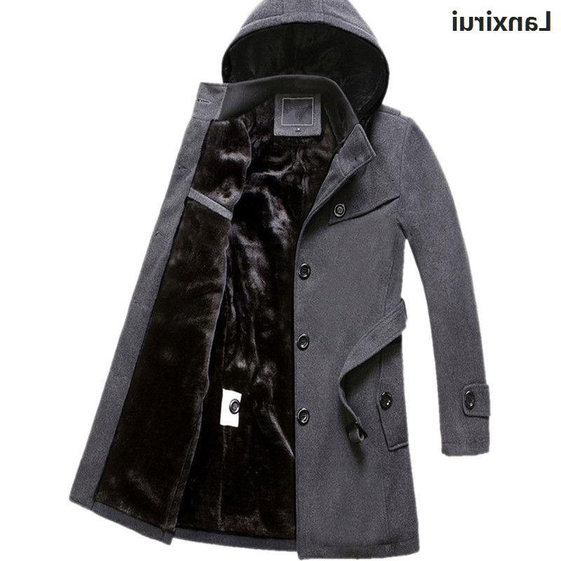Winter <font><b>Mens</b></font> Coat Thicken Warm Overcoat Long trench 4xl plus size