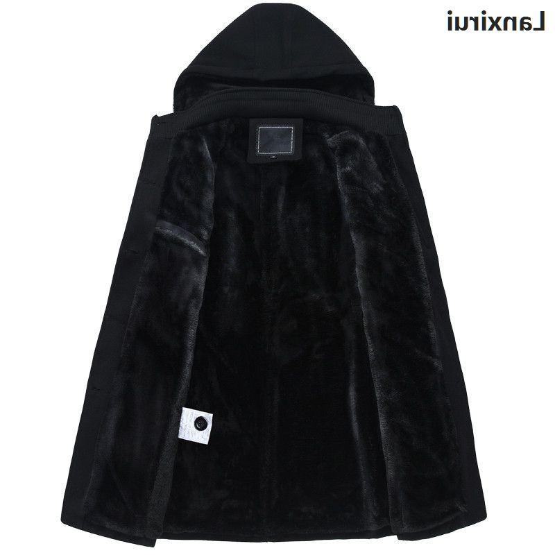 Winter <font><b>Mens</b></font> Coat Breasted Thicken Velvet Overcoat trench size