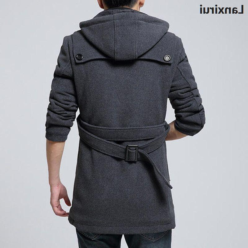 Winter <font><b>Mens</b></font> <font><b>Hooded</b></font> Coat Breasted Thicken Overcoat