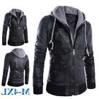 Winter Men Turn-down Collar Leather Jacket Hooded PU Faux Fu