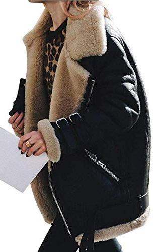 winter warm zipper belted suede lamb wool