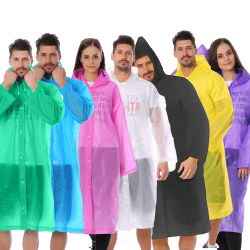 Women/Men PE Raincoat Hooded Poncho