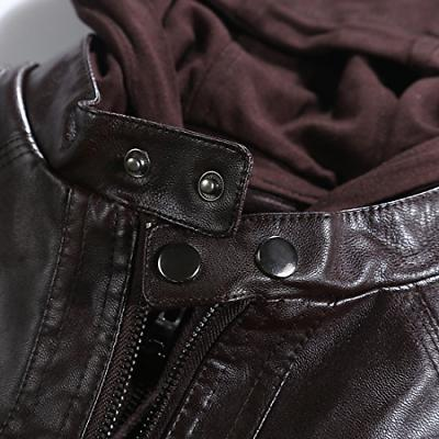 Tanming Womens Hooded Faux Leather Dark