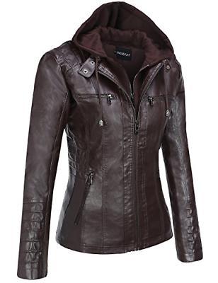 Tanming Women's Womens Hooded Faux Jackets Dark