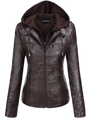 women s womens hooded faux leather jackets