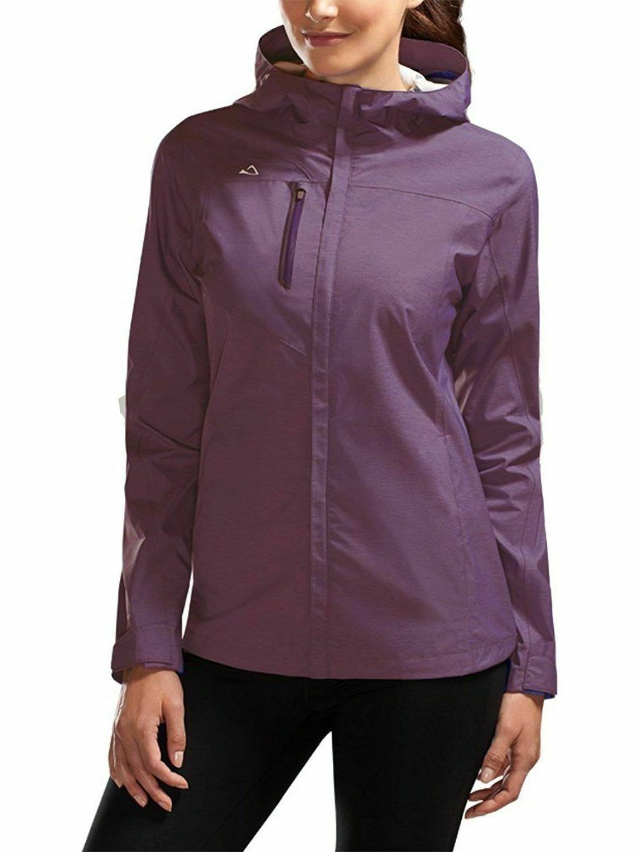 womens waterproof breathable hood rain jacket purple