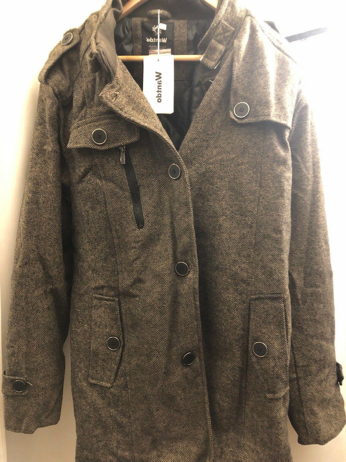 wool blend single breasted military peacoat jacket