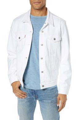 Levi's Men's Cotton Button Up Denim Jeans Trucker Jacket Whi