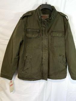 Levi's Men's Washed Cotton Two Pocket Military Jacket, Olive