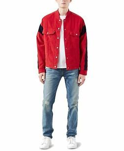 Levi's Mens Jacket Red Navy Blue Size XL Snap Button Corduro