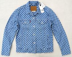 LEVIS Premium Big E Checkmate Denim Checker Trucker Jacket B
