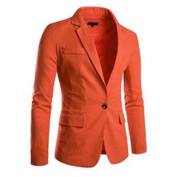 Pishon Men's Linen Blazer Lightweight Casual Solid One Butto