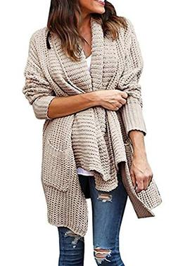 Ting room Womens Long Sleeve Open Front Chunky Warm Cardigan