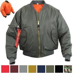 MA-1 Flight Jacket Military Bomber Coat Reversible Orange MA