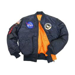 ALPHA INDUSTRIES MA-1 NASA FLIGHT JACKET REPLICA BLUE NYLON