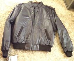 Men 100% Genune Black Leather Shell Members Only Size 46 Win