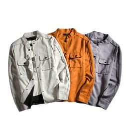 Men Coat British Cut Pocket Decor Stand Collar Suede Jacket