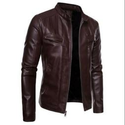 Men Coat Faux Leather Stand Collar Zipper Slim Fit Solid Lei