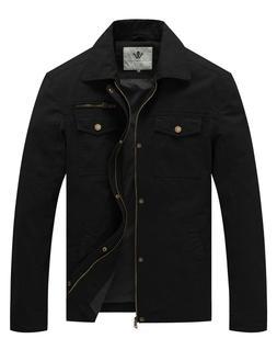 WenVen Men Cotton Lightweight Jacket Spring Military Casual