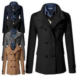 Men Double Breasted Trench Coat Winter Outwear Jacket Formal