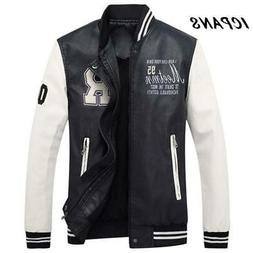 Men Embroidery Baseball Jackets Coats Stand Collar Faux Leat