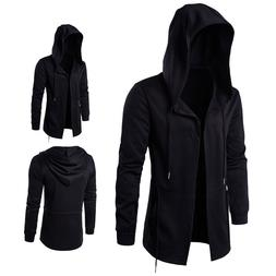 Men Fashion Hooded Jacket Long Cardigan Black Ninja Goth Got
