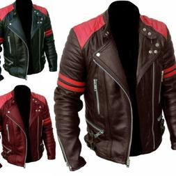 Men Faux Leather Motorcycle Jacket Coats Fashion Patchwork B