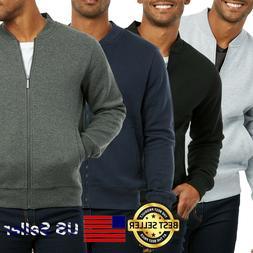 Men Fleece Bomber Jacket Baseball Casual Cotton Zipper Zip-u