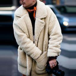 Men Fluffy Coat Fleece Fur Jackets Teddy Bear Winter Warm Ou