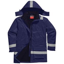 PortWest Men FR Anti-Static Winter Jacket Navy/Orange Multi