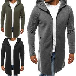 Men Hooded Cardigan Casual Sweater Slim Long Sleeves Trench