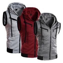 Men Hoodies Sleeveless Zipper Sweatshirt Hooded Jacket Vest