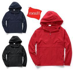 Hanes Men Jacket Wind water Resistant Lightweight Scuba Hood