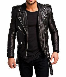 Men Leather Jacket Black Slim fit Biker genuine lambskin jac