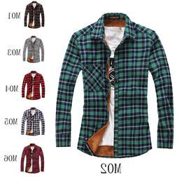 men long sleeve fleece lined plaid flannel