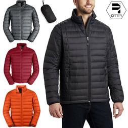 Men Packable Duck Down Jacket Lightweight Coat Stand Collar