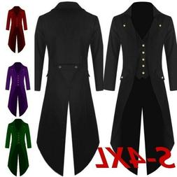 Men Retro Jacket Solid Color Long Sleeve Steampunk Costume C