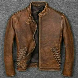 Men's Biker Cafe Racer Vintage Motorcycle Distressed Tan Bro
