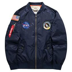 Honiee Men's Bomber Flight Jacket with Patches