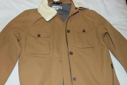 Men's Brown Sherpa Collar Twill Stats Jacket NWT Size S,M,L,