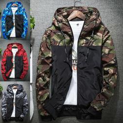 Men's Casual Camo Thin Hooded Jacket Wind Breaker Sport Loos