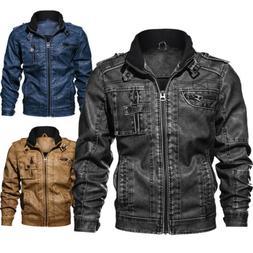 Men's Casual Leather Jacket PU Faux Bomber Jacket Motocycle
