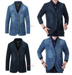 Men's Casual Suit Denim Blazer Button Coats Jackets Formal T