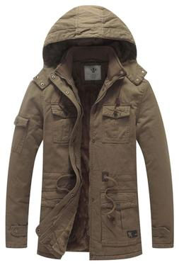 WenVen Men's Causual Thick Winter Hooded Coat Khaki,US L