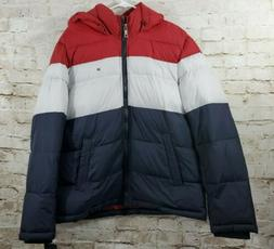 Tommy Hilfiger Men's Classic Hooded Puffer Jacket Red/White/